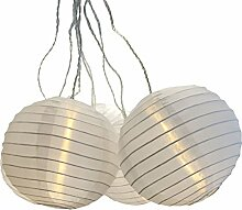 Multistore 2002 Garten Lampionkette, Weiß, 30 LED-Lichter, 15 Lampion, 17m Gesamtlänge/Gartendekoration Partydekoration Aussenbeleuchtung Lampion Lichterkette Partybeleuchtung Partylichter