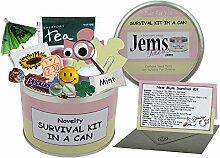 Mum to Be Survival Kit in einer Dose. Humorvolles Geschenk–Neue Eltern/Mutter. Baby Dusche/Schwangerschafts-Geschenk und Karte Alles in einem Dosenfarbe kann, rosa / cremefarben, 10 x 6 cm
