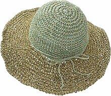 MuMa Sonnenhüte Strandmütze Frau Sommer Sonnenschutz Schatten Strohhut Zusammenklappbar Reisen Urlaub (Farbe : Grün)