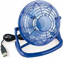 mumbi USB Ventilator Mini für den Schreibtisch mit An/Aus-Schalter, blau