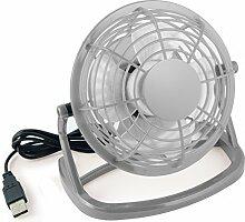 mumbi USB Ventilator - Mini USB Fan für den Schreibtisch mit An/Aus-Schalter in grau