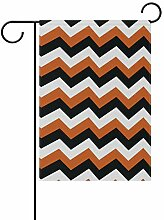 MUMIMI Home Garten-Flaggen schwarz orange Chevron