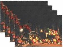 MUMIMI Place Mats Set of 4,Happy Thanksgiving