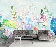 munxin-3D Tapete Aquarellblumenpflanzenkristall