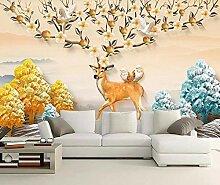 munxin-3D Tapete Elch Goldener Vogel Blumen