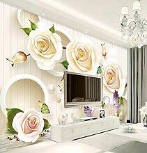 munxin-3D Tapete Rose Pearl Swan Butterfly