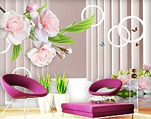 munxin-3D Tapete Rose Schmetterling Gebäude Rosa