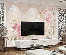 munxin-3D Tapete Rose Schmetterlingsblumenrebe
