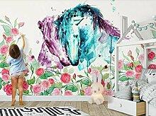 munxin-3D Tapete Rosenblütenpferd Grünes