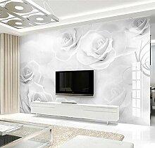 munxin-3D Tapete Rosenblütenstreifen Grau