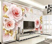 munxin-3D Tapete Rosenschmuck Schmetterling Rosa
