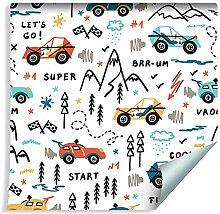 Muralo Tapete Für Kinder - Autorennen in den