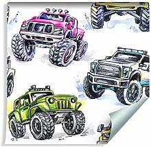 Muralo Tapete Für Kinder - Bunte Autos Monster