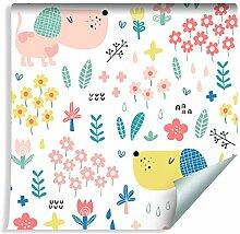 Muralo Tapete Für Kinder - Bunte Hunde und Blumen
