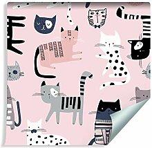 Muralo Tapete Für Kinder - Bunte Katzen auf Rosa