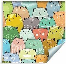 Muralo Tapete für Kinder - Bunte Katzen Vlies