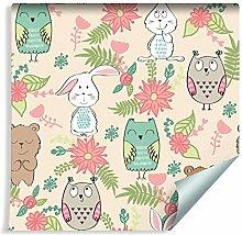 Muralo Tapete Für Kinder - Bunte Tiere und Blumen