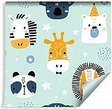 Muralo Tapete Für Kinder - Fröhliche Tiere auf