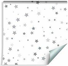 Muralo Tapete Für Kinder - Graue Kleine Sterne