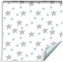 Muralo Tapete Für Kinder - Graue und Blaue Sterne