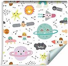 Muralo Tapete Für Kinder - Planeten, Sterne,