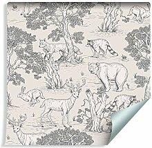Muralo Tapete für Kinder - Waldtiere Vlies Tier