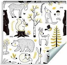 Muralo Tapete für Kinder - Waldtiere Vlies