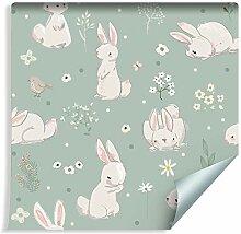 Muralo Tapete für Kinder - Weiße Kaninchen Vlies