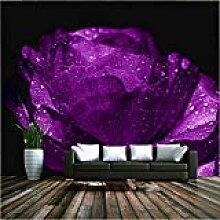 MuralXW Romantische lila Rose Blume Wandbild