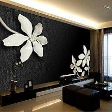 MuralXW Schwarz und Weiß Blume Wandbild Tapete 3D