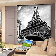 MuralXW Schwarz-Weiß-Eiffelturm 3D Wandbild