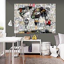 murando - 3D WANDILLUSION 140x100 cm Wandbild Fototapete Poster XXL Vlies Leinwand Panorama Bilder Dekoration WeltKarte Welt Karte Kontinente