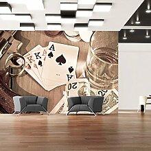 murando - Fototapete 100x70 cm - Vlies Tapete - Moderne Wanddeko - Design Tapete - Wandtapete - Wand Dekoration - Spielkarten Revolver Geld Poker Whiskey i-B-0002-a-b
