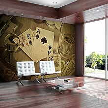 murando - Fototapete 400x280 cm - Vlies Tapete - Moderne Wanddeko - Design Tapete - Wandtapete - Wand Dekoration - Spielkarten Revolver Geld Poker Whiskey i-B-0002-a-c