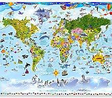 murando Fototapete selbstklebend Weltkarte für