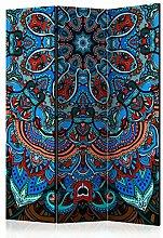 murando - Raumteiler - Foto Paravent 135x172 cm - beidseitig auf Vlies-Leinwand bedruckt - Blickdicht & Textile Haptik - Trennwand - Spanische Wand - Sichtschutz - Raumtrenner - Deko - Design - Mandala Ornament bunt blau orange rot f-A-0606-z-b