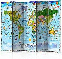 murando Raumteiler Foto Paravent Weltkarte für