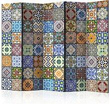 murando - Raumteiler Mandala Ornament Oriental - Foto Paravent 225x172 cm - beidseitig auf Vlies-Leinwand bedruckt - Blickdicht & Textile Haptik - Trennwand - Spanische Wand - Sichtschutz - Raumtrenner - Deko - Design - bunt blau gelb orange f-B-0009-z-c