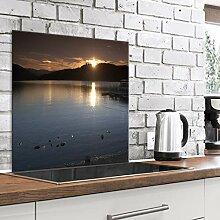 murando Spritzschutz Glas für Küche 80x80 cm