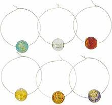 Murano Glas Ca D`Oro Weinglas Charms 6er Se
