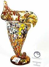 Murano Glas Füllhorn Vase Fantasie Bernstein