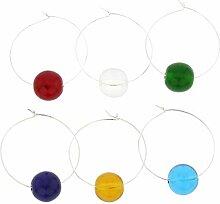 Murano Glas Regenbogen Weinglas Charms 6er Se