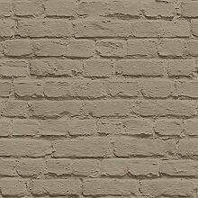 Muriva J66508 Just Like It handbemalt, Brick, Tapete Rollen, Taupe