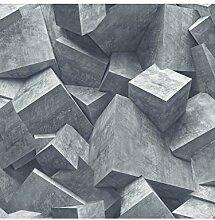 Muriva Quadra Stein Würfel Muster Tapete 3D