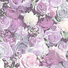Muriva Roses Muster Fotografische Blumen Blumenmotiv Vinyl Tapete - Lila J97006