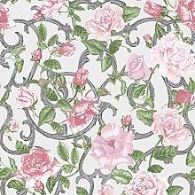 Muriva Tapete Blumen rosa, grün mit Blumen,