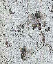 Muriva, Tapete, Blumendesign, silbern, Metallic,