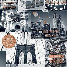 Muriva Tapete Bright Lights Big City Tapete -, Orange, Full Roll