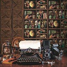Muriva Tapete Holz Bücherregal Muster Tapete Inca