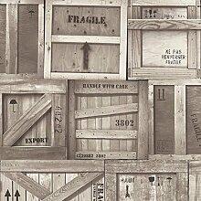 Muriva Tapete Holzkisten Muster Factory Box Motiv